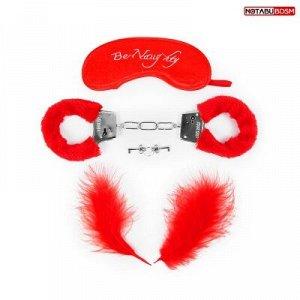 КОМПЛЕКТ (наручники, маска, перо) цвет красный, металл, текстиль