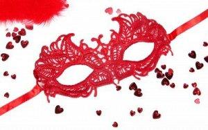 Маска ажурная АНДРЕА цвет красный, текстиль