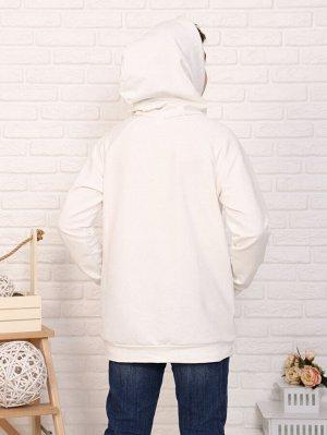 Худи Цвет: белый; Состав: хлопок72%, п/э20%, лайкра8%; Материал: футер двухнитка с лайкрой Худи — очень модная и популярная, она сочетает в себе комфорт и стиль. У данной модели базовые расцветки, что