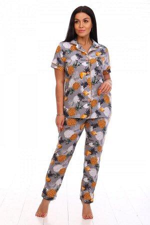 Пижама Ткань: Кулирка; Состав: 100% хлопок; Размеры: 44-54; Цвет: Ананасы