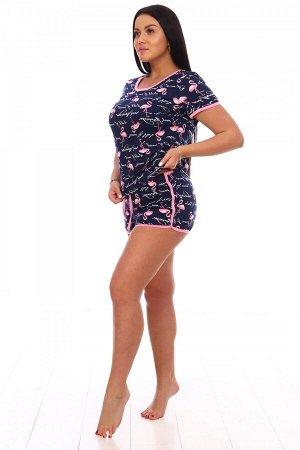 Пижама Ткань: Кулирка; Состав: 100% хлопок; Размеры: 42, 44, 46, 48, 50, 52; Цвет: Фламинго