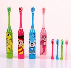 Детская электрическая зубная щетка с 2 насадками, 4-10 лет