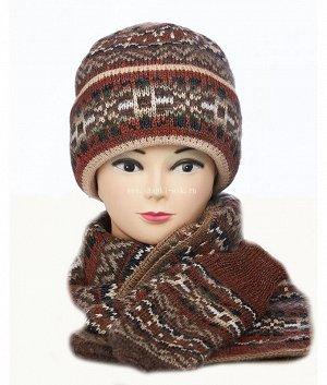 Шапка с большим отв.тройка(шапка+шарф+варежки) Комплект