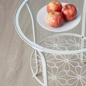 KLINGSBO КЛИНГСБУ Придиванный столик, белый/прозрачное стекло49x62 см