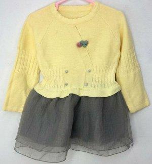 Платье для малышки желтое