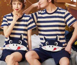 """Парная хлопковая пижама(футболка+шорты), принт """"В полосочку"""", цвет синий"""