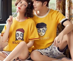 "Парная хлопковая пижама(футболка+шорты), надпись ""New sparer"", цвет желтый"