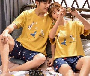"""Парная хлопковая пижама(футболка+шорты), принт """"Собаки"""", цвет желтый"""