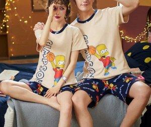"""Парная хлопковая пижама(футболка+шорты), принт """"Желтый парень"""", цвет бежевый и синий"""