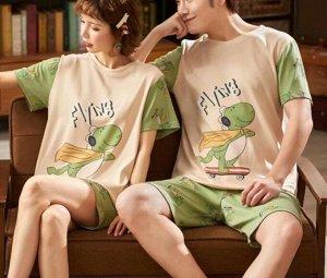"""Парная хлопковая пижама(футболка+шорты), принт """"Динозаврик"""", цвет зеленый"""