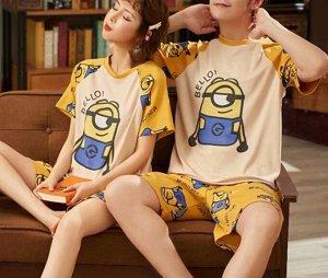 """Парная хлопковая пижама(футболка+шорты), принт """"Желтая капсула с глазом"""", цвет желтый"""