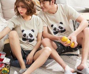 "Парная хлопковая пижама(футболка+шорты), принт ""Милая панда"", цвет серый"