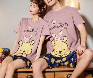 """Парная хлопковая пижама(футболка+шорты), принт """"Медведь и поросенок"""", цвет розовый и синий"""