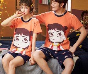 """Парная хлопковая пижама(футболка+шорты), принт """"Девочка"""", цвет оранжевый и синий"""