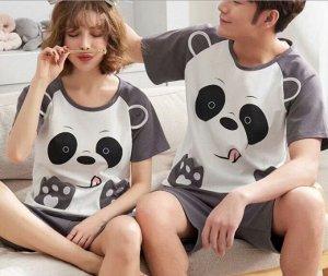 "Парная хлопковая пижама(футболка+шорты), принт ""Панда"", цвет серый"