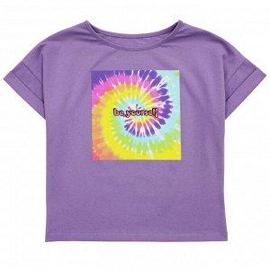 Футболка Модная блузка для девушек. Стильный принт. Материал: 95% хлопок, 5% эластан, кулирка с лайкрой Размеры: 34, 36, 38, 40 Цвет - Сиреневый