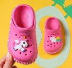 """Детские кроксы, принт """"Единорог"""", цвет ярко-розовый"""