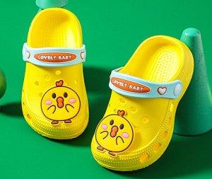 """Детские кроксы, принт """"Желтая птичка"""", цвет желтый"""