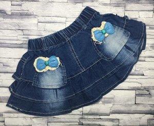 Юбка джинсовая с синим бантом