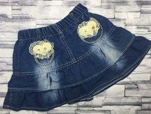 Юбка джинсовая с бантом сердечко
