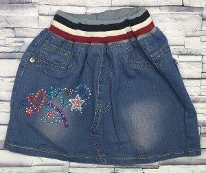 Юбка джинсовая  с вышивкой