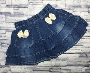 Юбка джинсовая с белым бантом