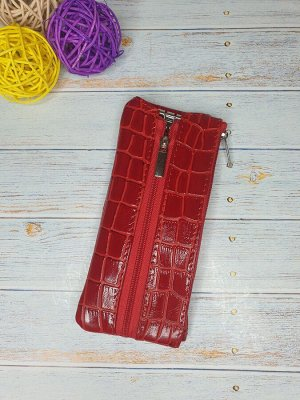 Ключница Ключница. Натуральная Кожа. Цвет красный.  7x16 см.