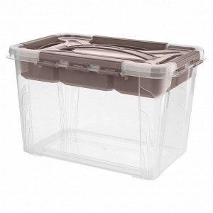 Ящик универсальный с замками и вставкой органайзером Grand Box 290х190х180 мм 6,65л