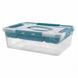 Ящик универсальный с замками и вставкой органайзером Grand Box 390х290х124 мм 10л