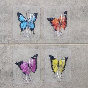 Набор крючков на липучке «Бабочки», 4 шт, цвет и рисунок МИКС