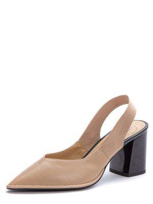 917036/02-01 бежевый иск.кожа/стрейч женские туфли открытые (В-Л 2021)