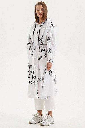 Плащ Moveri by Larisa Balunova M6057CT белый+чёрный