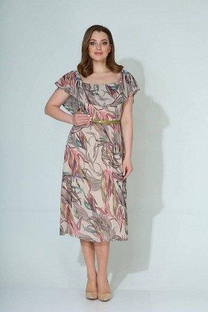 Платье Koketka i K 834 молочный+цветные_листья