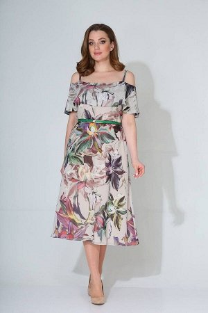 Платье Koketka i K 834 молочный+цветы