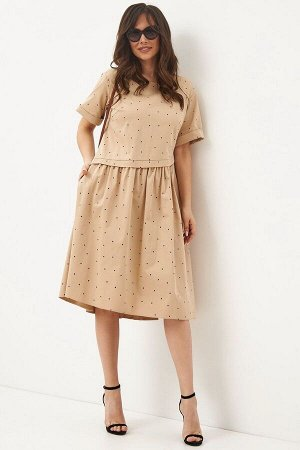 Платье Магия моды 1922 беж+горох