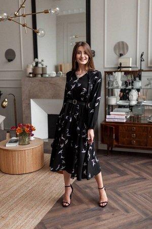 Платье KRASA 163-21 черный/ласточки