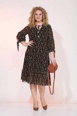 Платье Liliana 921 черный/горчица
