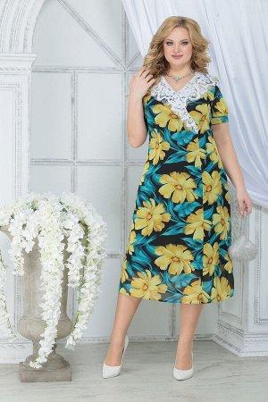 Платье Ninele 7319 желтые ромашки