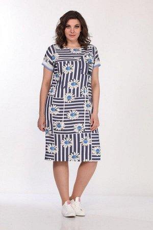 Платье Lady Style Classic 2277 синий+ромашки