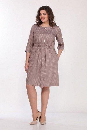 Платье Lady Style Classic 2049/1 кофе+горох