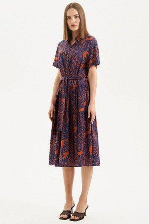 Платье Moveri by Larisa Balunova 5106D синий+оранжевый