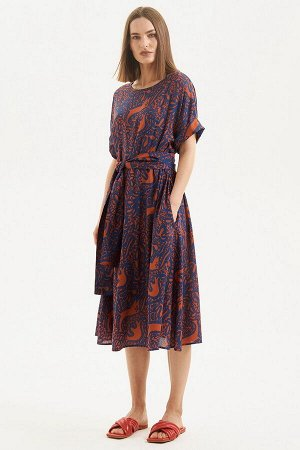 Платье Moveri by Larisa Balunova 5705D синий+оранжевый