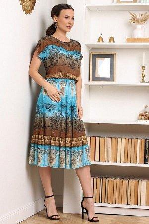Платье Мода Юрс 2557 бирюза-коричневый