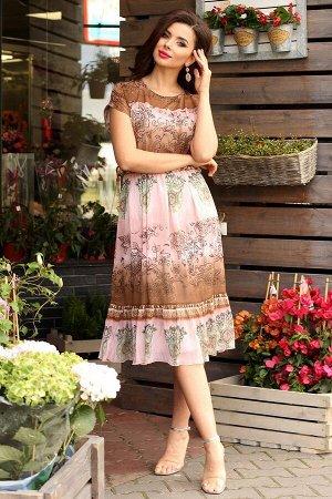 Платье Мода Юрс 2557 розовый-коричневый