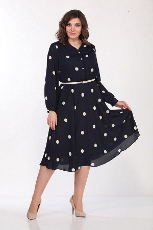 Платье Lady Style Classic 2219 темно-синий_крупный-горох