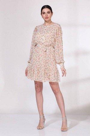 Платье Viola Style 0965 молочный_в_цветочек