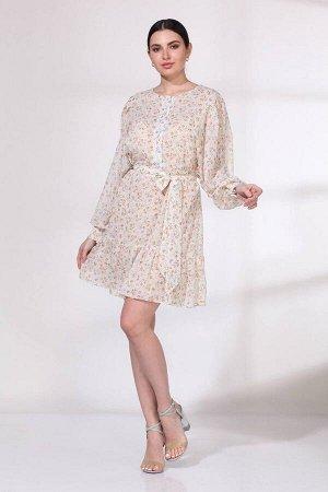 Платье Viola Style 0965 белый_в_цветочек