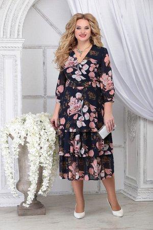 Платье Ninele 2282 синий+цветы