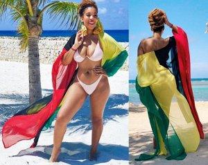 Женское парео, цвет красный/желтый/черный/зеленый
