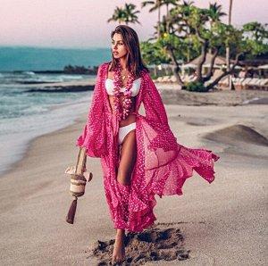"""Женская накидка, принт """"горох"""", цвет розовый"""